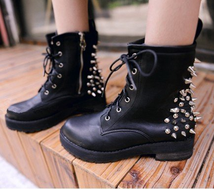 Drop shipping cool punk spike stud zip lace up working flat riding biker martin short boots motorcycle mid calf boots