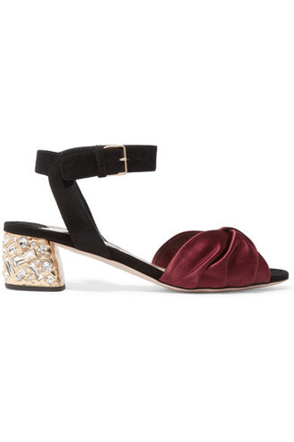 embellished sandals suede satin burgundy shoes