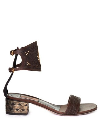 heel sandals leather dark brown shoes