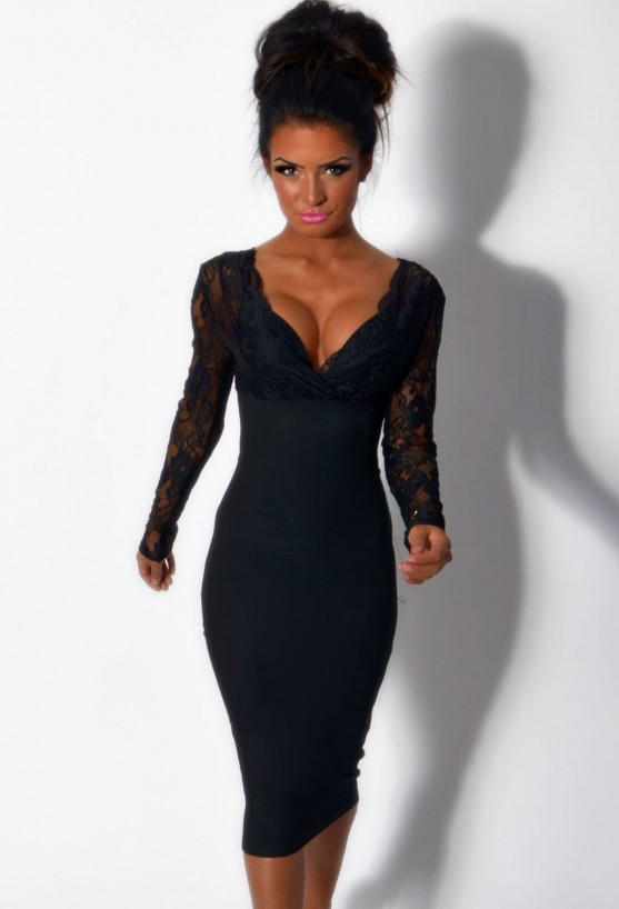 LUXE Black Lace Panel Bodycon Midi Dress | Pink Boutique