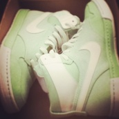 shoes,lime green sneakers,green,mint,high top nikes,high top sneakers,nike,nike shoes,nike sneakers,mint green shoes,high tops,pretty,cute shoes,cute