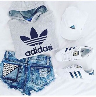 shorts mxlisa.xo adidas adidas shoes adidas superstars adidas originals adidas sweater tumblr sporty cute casual chic cap outfit