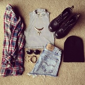 shirt,plaid,button up,stripes,black and white,blouse,shorts,sweater,jewels,DrMartens,top,shoes,hat
