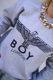 shirt,grey,skirt,grey sweater,sweater,boy london,london,city,boy,hoodie,girl,sweatshirt