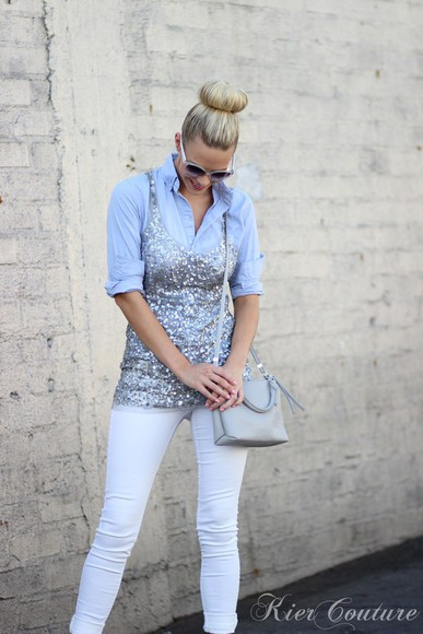 sequins fashion addict blogger jeans bag jewels top ballet flats