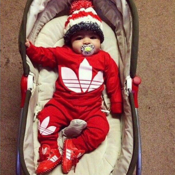 Hat: baby clothing, designer, adidas, red, sweater ...