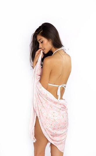 swimwear bikini bottoms bikini delivery cheeky crochet floral frankies bikini macramé pink print white bikiniluxe