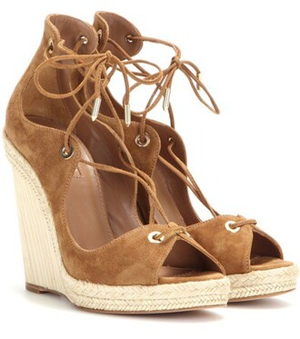 wedges suede brown shoes