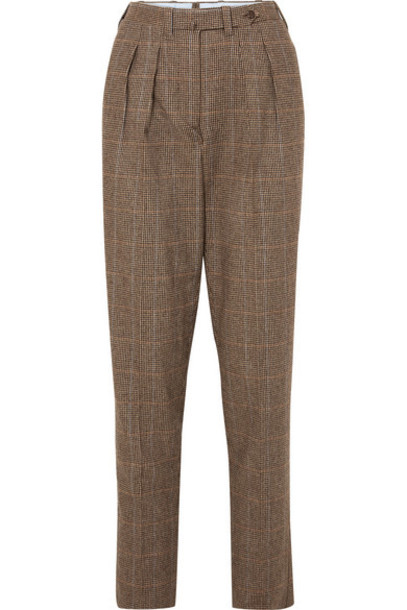 Giuliva Heritage Collection - Husband Herringbone Merino Wool Tapered Pants - Brown