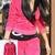 Women Celebrity Style Inspired Velour Hooded Tracksuit Fushia 8-14