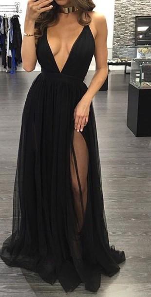 dress, black, v neck dress, tulle dress, long dress, black dress, flowy  dress, v neck, slit dress - Wheretoget