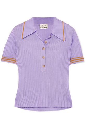 shirt polo shirt knit lilac top