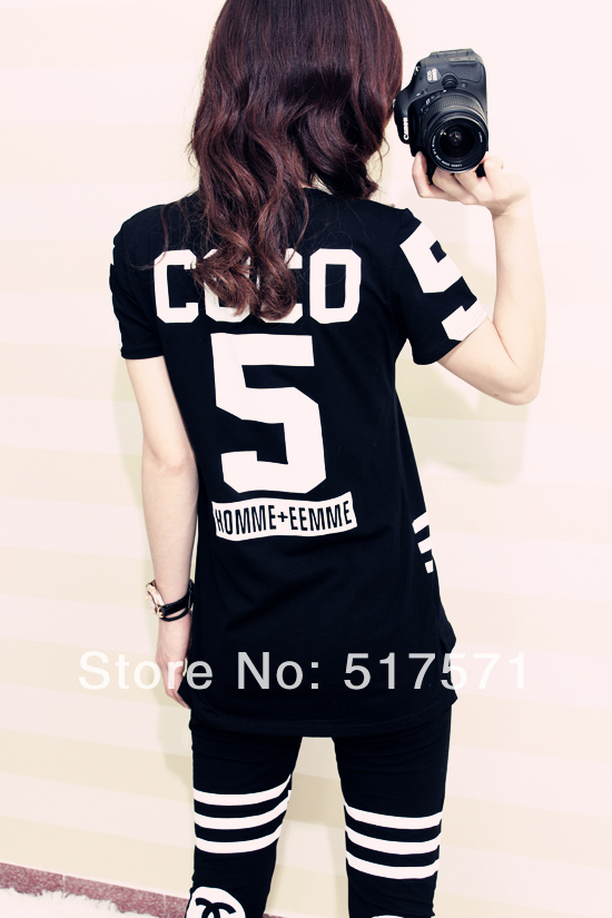 2014 summer coco channel sport suit women shorts sleeve tshirt  pants Homme Femme costume-in T-Shirts from Apparel & Accessories on Aliexpress.com