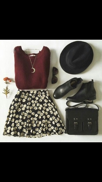 cute style jewels bag floral skirt black and white