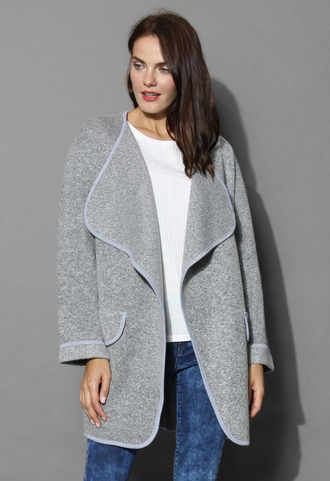 coat just knitted open coat in grey chicwish grey
