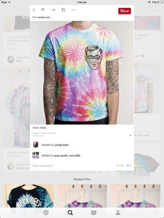 shirt neck deep punk bands music tie dye merchandise