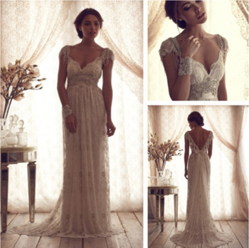 Luxury anna campbell lace cap sleeve open back wedding dresses vestido de noiva 2014 women bridal gowns v neck with beading