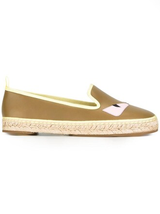 women espadrilles leather green shoes