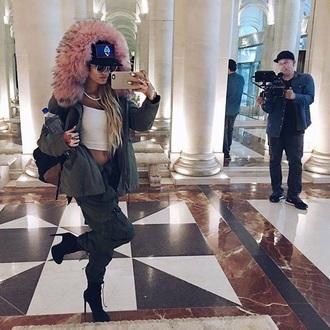 jacket piamia princesspiamia jacket khaki pinkfauxfur fauxfurhood khakipinkfauxfur fauxfurcoat shoes parka fur pia mia perez crop tops boots cargo pants