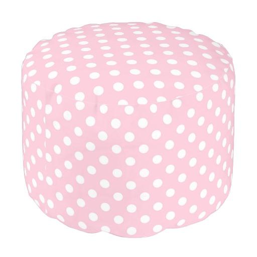 Carnation Pink Polka Dot Pattern Round Pouf