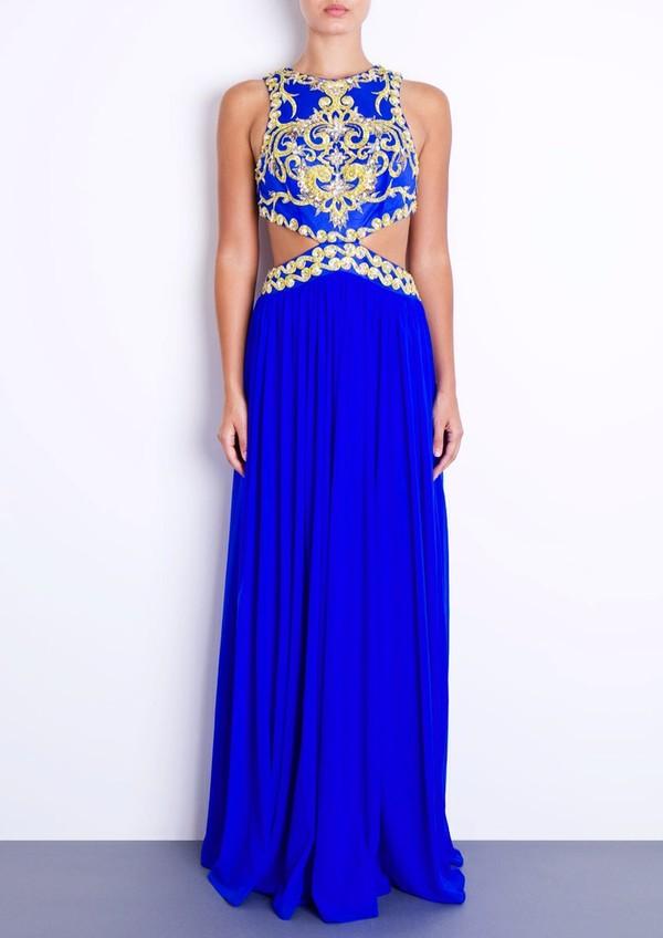 dress blue blue dress baroque gold oriental forever unique