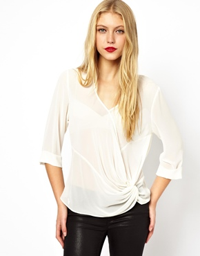 ASOS | ASOS Top wtih Deep V and Origami Knot at ASOS