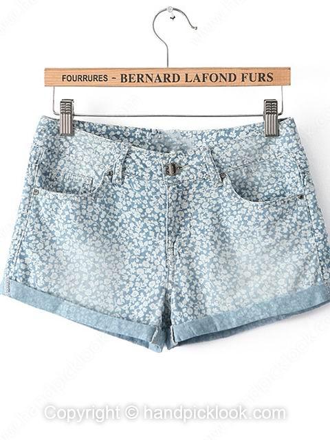 Blue Flange Floral Print Pockets Shorts - HandpickLook.com