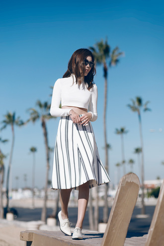 tsangtastic blogger cropped sweater striped skirt lace-up shoes white crop tops top skirt sunglasses shoes bag