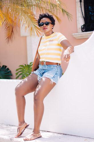 pinksole blogger sunglasses jewels top shorts shoes bag belt