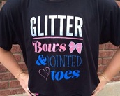 t-shirt,cheerleading,glitter,bow,pink,pink top,white,white shirt,blue,blue shirt,dance