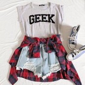 blouse,cool,light,wrecked,shorts,shirt,cute,punk,punk rock,perfect,pants,t-shirt,grey,black,style,grey t-shirt,grey top,top,tank top,High waisted shorts,grunge,grunge shirt,flannel,grunge flannel,converse,geek,tumblr,tumbl,grunge t shirt,tumblr girl,high waisted
