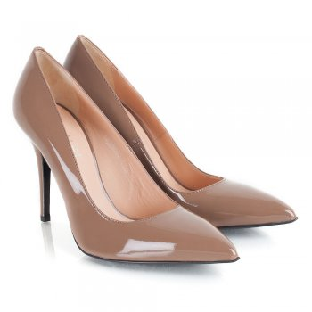 Daniel  ARDELL Taupe Patent Womens Court Shoe - Daniel from Daniel Footwear UK