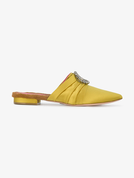 Oscar Tiye fur women mules leather yellow satin orange shoes