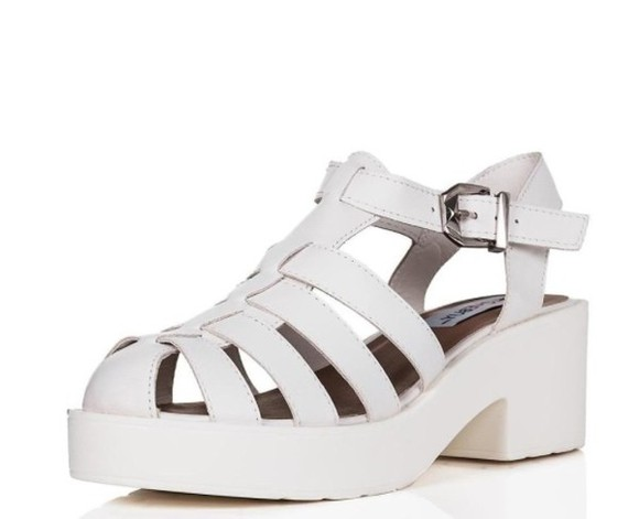 style white shoes white platform shoes shoes chunky sole sandals fashion kawaii shoes miley cyrus