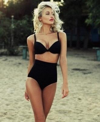 swimwear black high waisted bikini