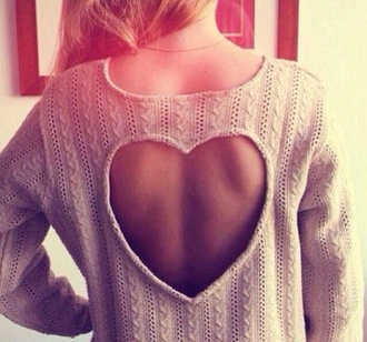 sweater beige heart heart cutout back