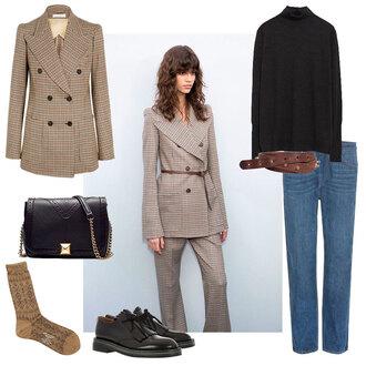 look de pernille blogger jacket belt jeans socks shoes bag