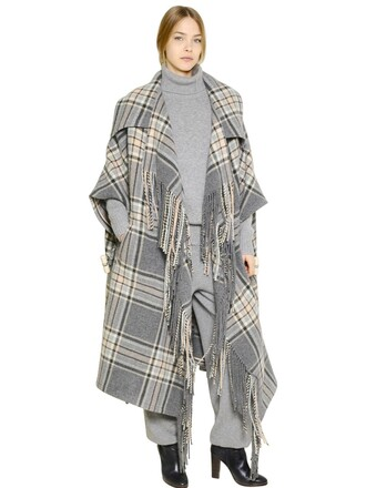 cape plaid wool grey top
