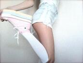 shoes,pink,japanese fashion,jfashion,korean fashion,kfashion,tumblr,weheartit,harajuku,platform shoes,plateau,converse,chucks converse,rainbow,cute,sweet,kawaii,shorts,hot pants,soft grunge,grunge,lolita,cosplay,socks