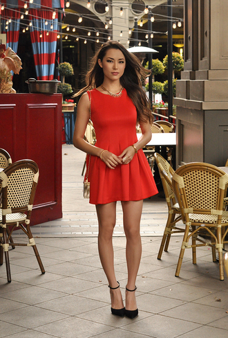 hapa time blogger red dress sandals date outfit dress bag shoes