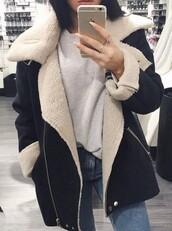 coat,sheepcoat,blue,daim,sheepskin