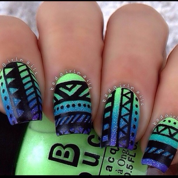 Nail art designs green and blue green white and black nail art nail art designs green and blue nail polish green blue purple beautiful aztec art prinsesfo Choice Image