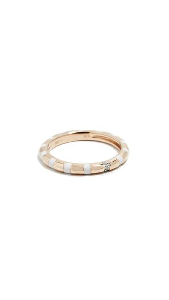 Adina Reyter 14k White Enamel Diamond Stripe Band Ring