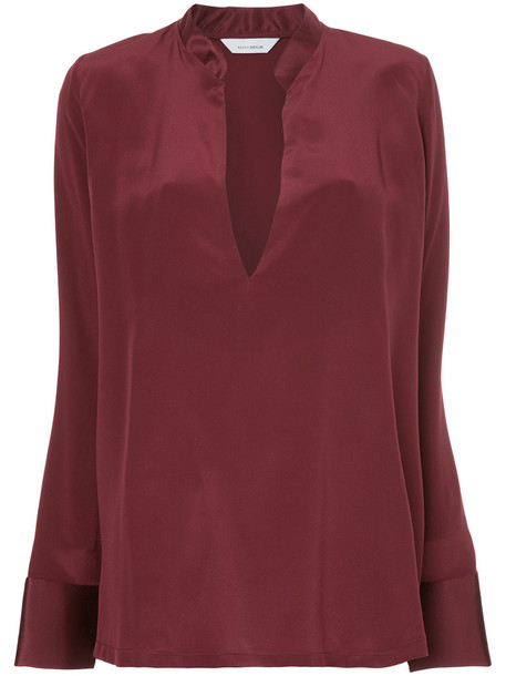 blouse women silk red top