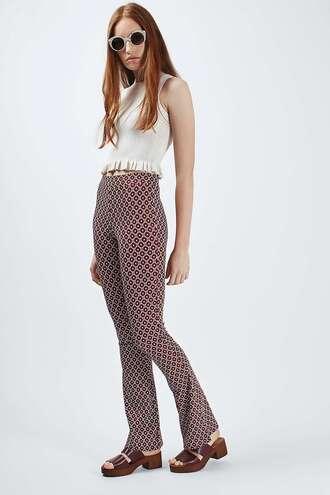 pants flare pants printed pants