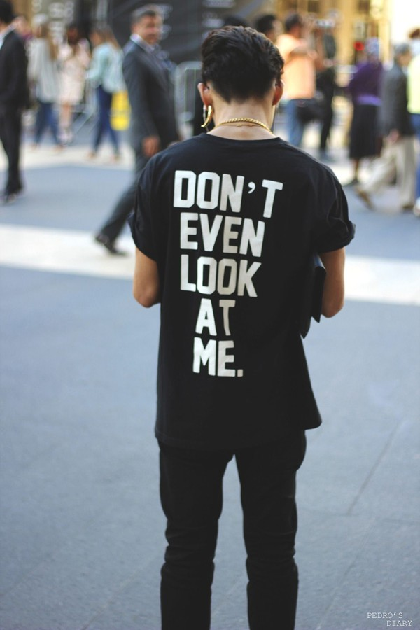 t-shirt black boy phrase quote on it short sleeve shirt mens t-shirt black t-shirt tumblr hipster don't even look at me. white quote on it print