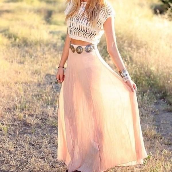 skirt maxi skirt peach belt maxi blue indigo beach boho bohemian girl perfect long skirt clothes chiffon crop flowy clutch jewels spring skirt
