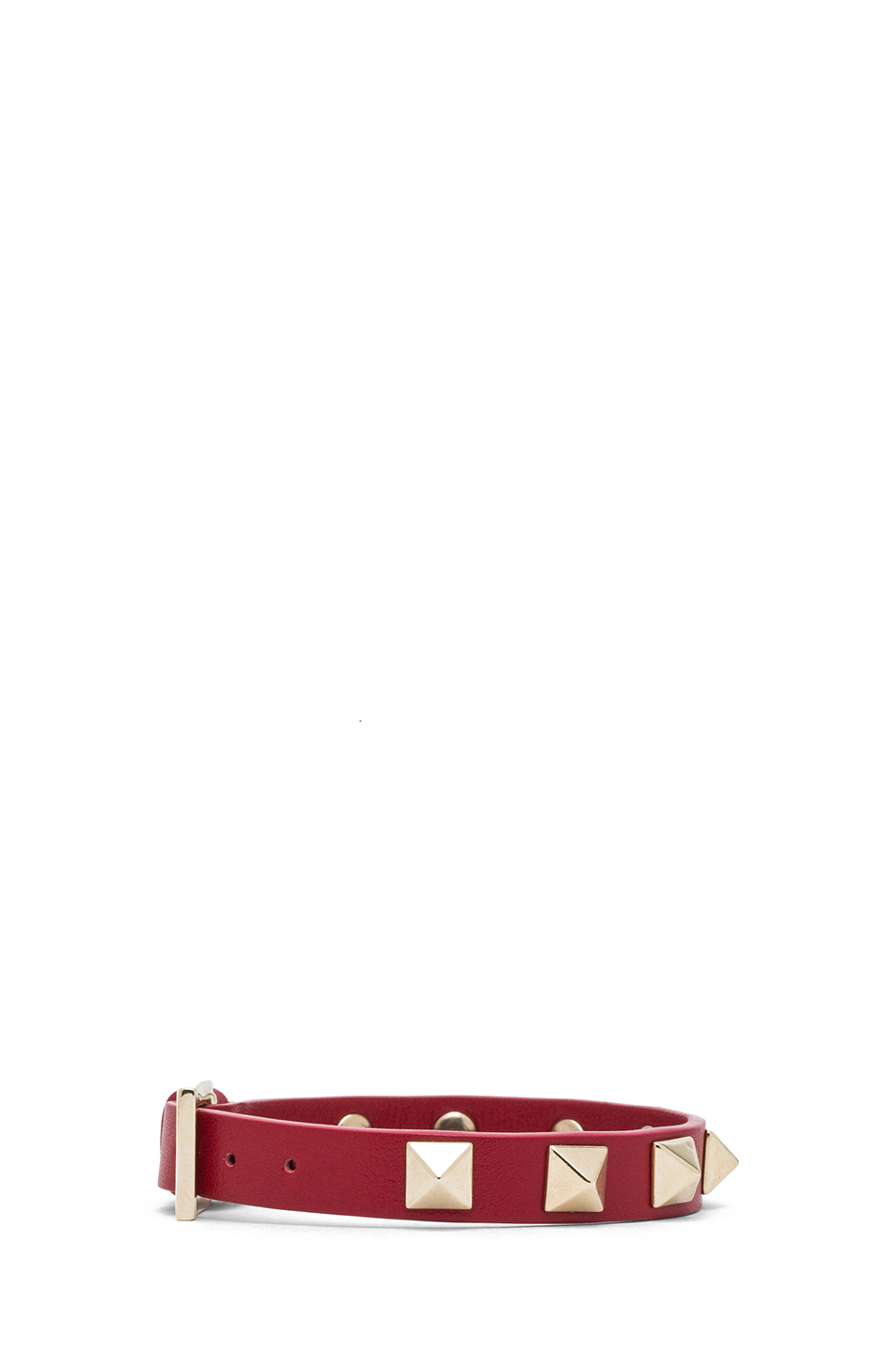 Valentino|Small Rockstud Calfskin Bracelet in Red