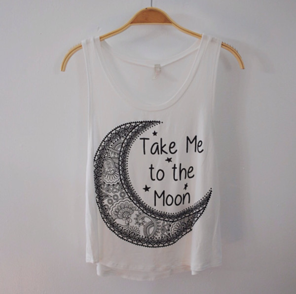 tank top take me to the moon moon white wheretoget. Black Bedroom Furniture Sets. Home Design Ideas