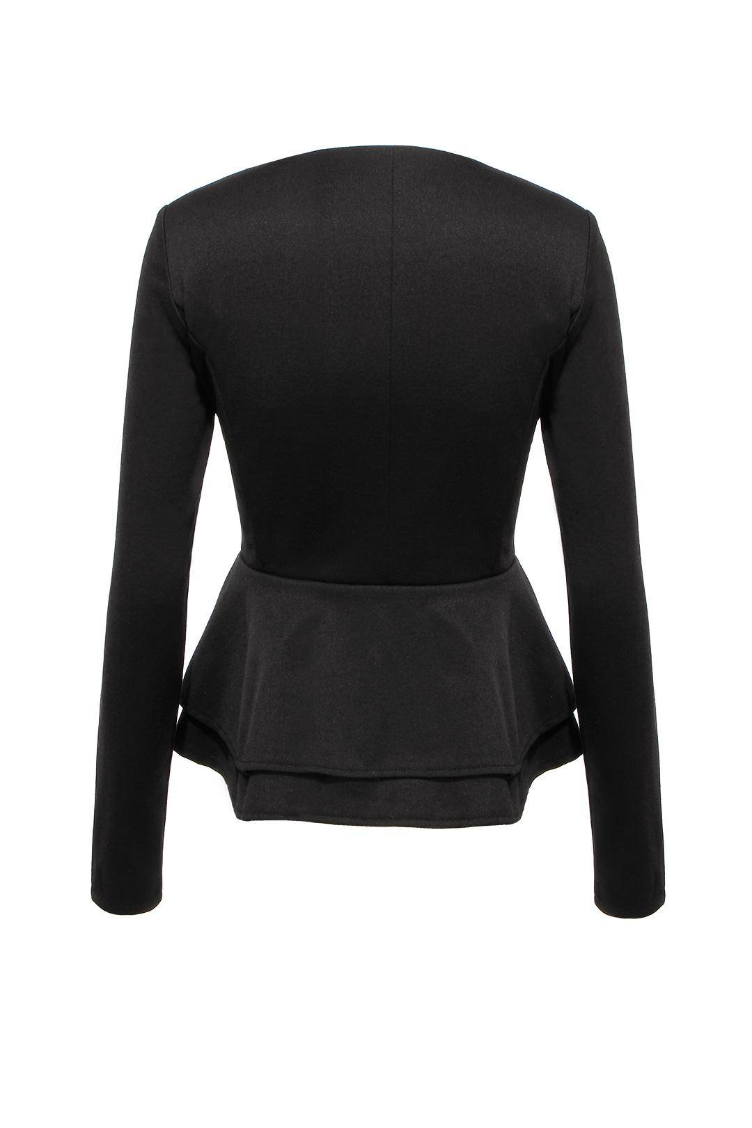 Black jacket with ruffle hem